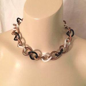 Big Vintage Tricolor Metal Lucite Chain Necklace